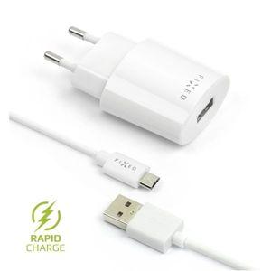 FIXED Rapid Charge síťová nabíječka s odnímatelným MicroUSB kabelem, 2,4A bílá