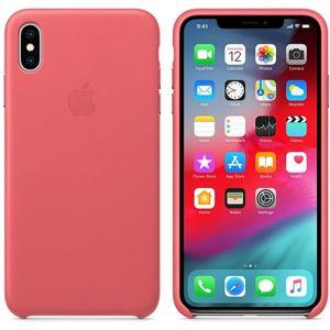Apple kožené pouzdro iPhone XS Max pivoňkově růžové