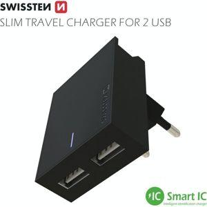 SWISSTEN síťový adaptér 2xUSB, 3A černý