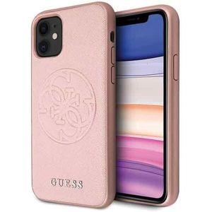 Guess Saffiano kryt iPhone 11 světle růžový