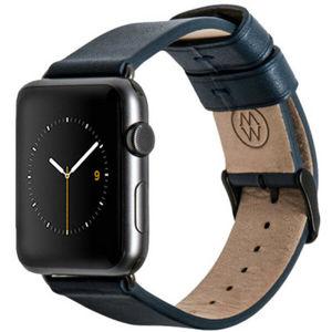 Monowear Leather Band Apple Watch 42,44 mm tmavě modrý/vesmírně šedé přezky