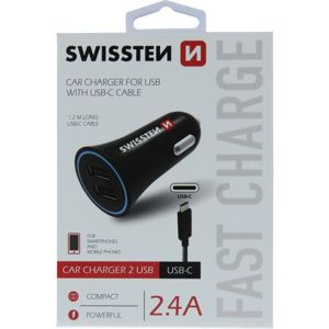 SWISSTEN CL Adaptér 2,4A Power 2x USB + USB-C kabel