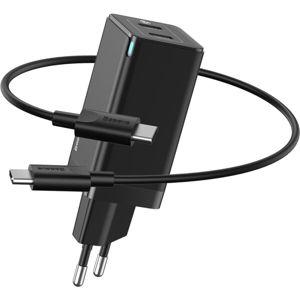 Baseus GaN2 Quick Charger 2x USB-C, 45W (20V/3A), kabel 1m černá