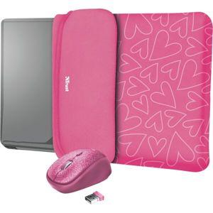 """Trust myš + obal na notebook Yvo Reversible 15.6"""" růžová srdce"""
