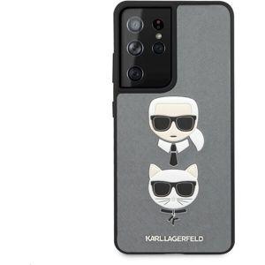 Karl Lagerfeld Saffiano K&C Heads kryt Samsung Galaxy S21 Ultra stříbrný