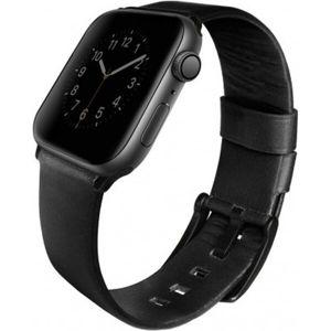 UNIQ Mondain kožený řemínek Apple Watch 44/42mm matně černý