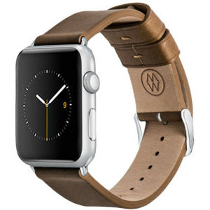 Monowear Leather Band Apple Watch 42,44 mm hnědý/stříbrné přezky