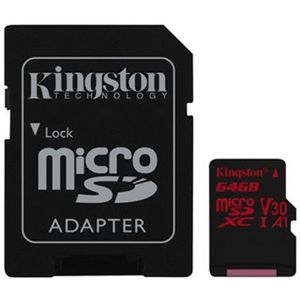 Kingston Canvas React MicroSDXC 64 GB - Video Class V30 / UHS-I U3 / Class10/ A1 + adaptér