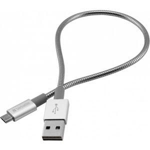 Verbatim datový a nabíjecí kabel s MicroUSB, 30cm stříbrný