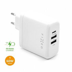 FIXED síťová nabíječka s USB-C a 2x USB, Power Delivery, 60W, bílá