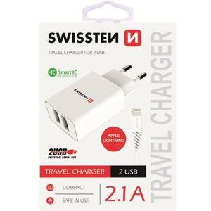 SWISSTEN síťový adaptér 2xUSB, 2,1A bílý + kabel USB/Lightning