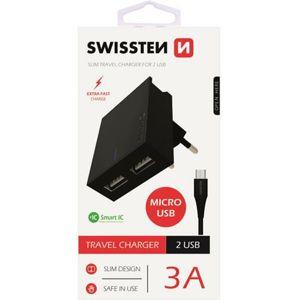 SWISSTEN síťový adaptér 2xUSB, 3A černý + kabel USB/MicroUSB