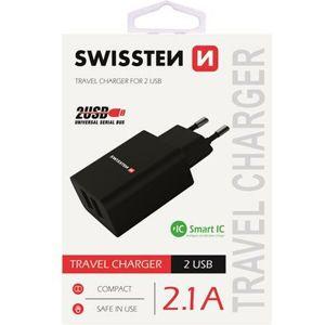 SWISSTEN síťový adaptér 2xUSB, 2,1A černý