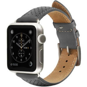 Monowear Perforated Leather Band Apple Watch 42,44 mm šedý/stříbrné přezky